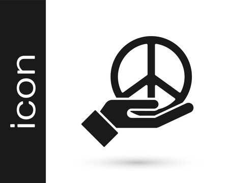 Black Peace icon isolated on white background. Hippie symbol of peace. Vector.