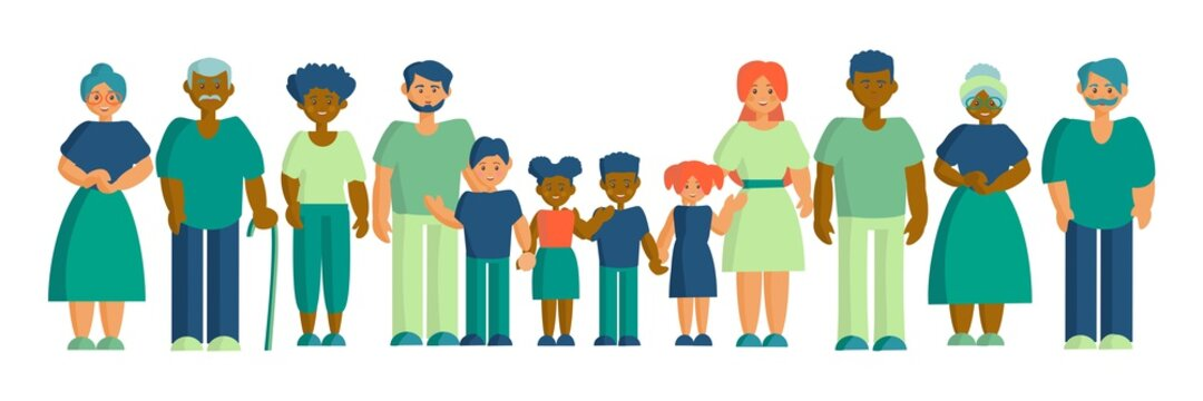 Happy interracial family Father, mother grandparents and children Son, daughter and parents Flat vector illustration
