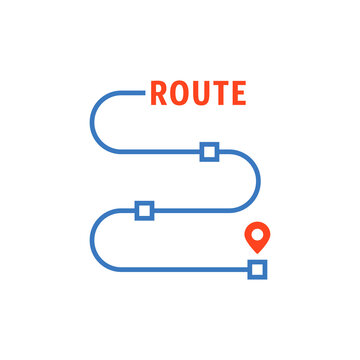 thin line route with waypoints