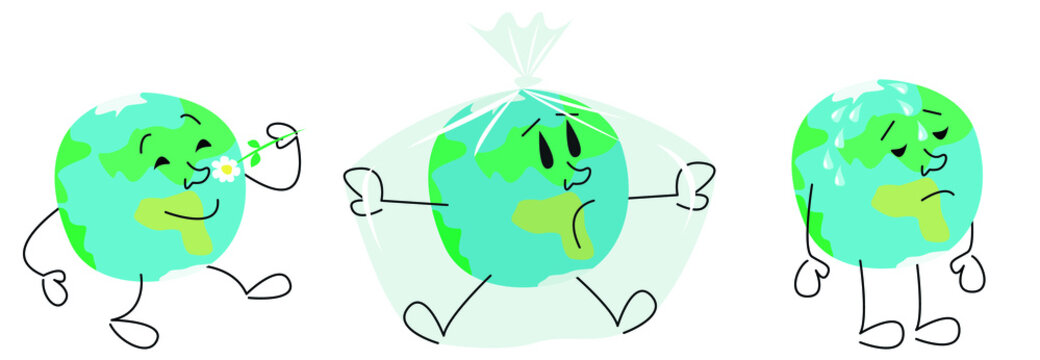 A set of vector images of the globe happy, sad and suffocating in a plastic bag. The concept of environmental disaster and global warming.