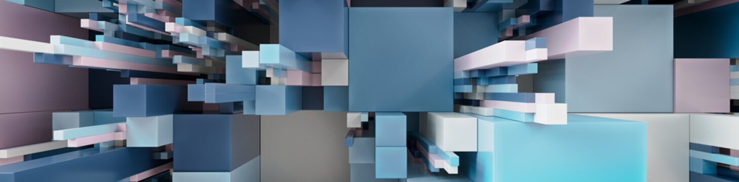 Multicolored 3D Block background. Tech Wallpaper with Pastel colors. 3D Render