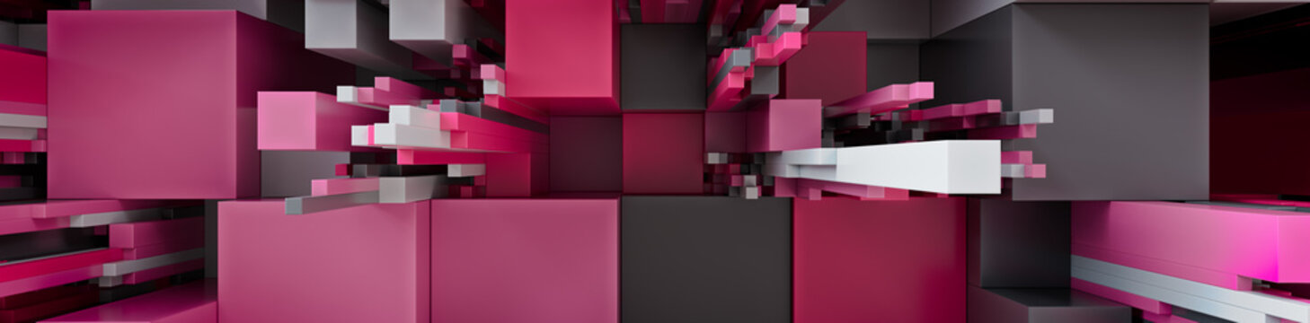 Multicolored 3D Block background. Tech Wallpaper with Pink and Grey hues. 3D Render