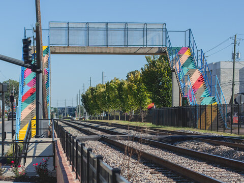 Walking Bridge Over Train
