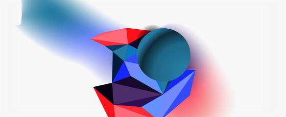 Fototapeta Trendy 3d geometric composition, design template for business or technology presentation, internet poster or web brochure cover