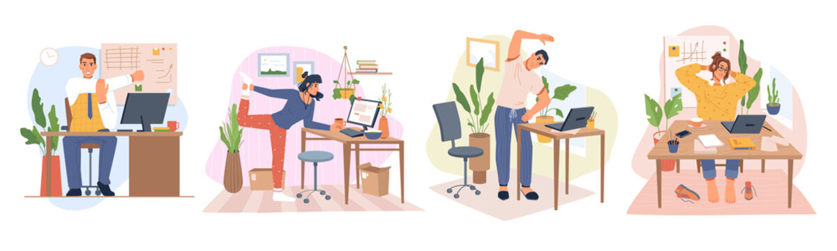Employees working from home or office stretching and doing small exercises at workplace to get rest and relaxation. Removing tension and muscle soreness. Cartoon characters, vector in flat style