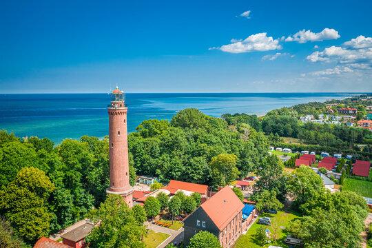 Lighthouse and blue sky by Baltic Sea, Poland