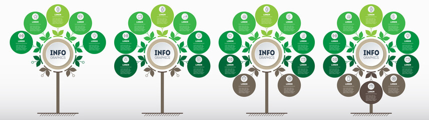Green infographics in the form of a tree with 5, 7, 9 and 10 parts. Development and growth of the eco business. Timeline of trends. Business presentation concept with four parts, steps or processes. - fototapety na wymiar