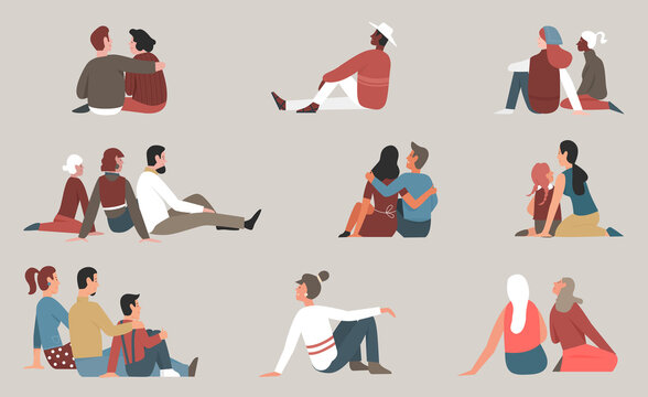 People sit together vector illustration set. Cartoon family with children and couple characters sitting and hugging, young and elderly man woman friends enjoy friendly meeting, happy community