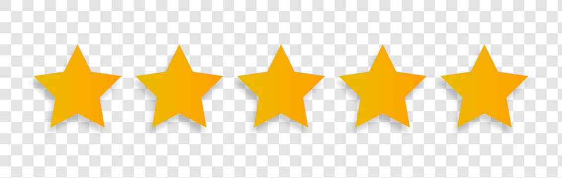 Rating stars vector web signs. 5 Stars yellow isolated on transparent background