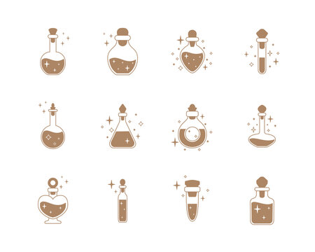 Set of bottles with magic potions. Vector illustration.