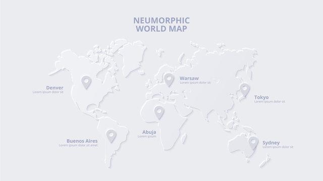 Neumorphic map with markers. Skeuomorph presentation slide