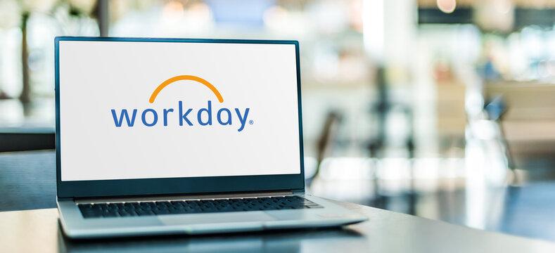 Laptop computer displaying logo of Workday