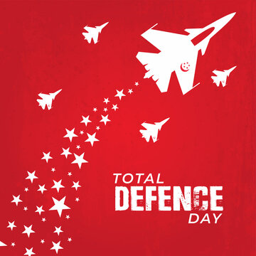 Total Defence Day. Singapore flag background