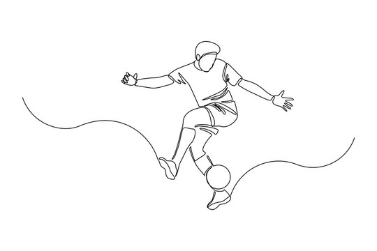 Continuous line drawing of football player jump and fly to kicking ball. Single one line art of young man playing soccer ball. Vector illustration