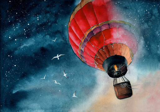 Watercolor illustration of a red air baloon in starry night sky with white seagulls