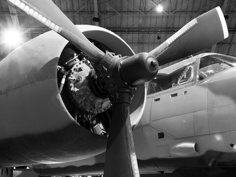 Isolated Shot of a Propeller Airplane Engine