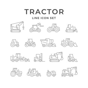 Set line icons of tractors