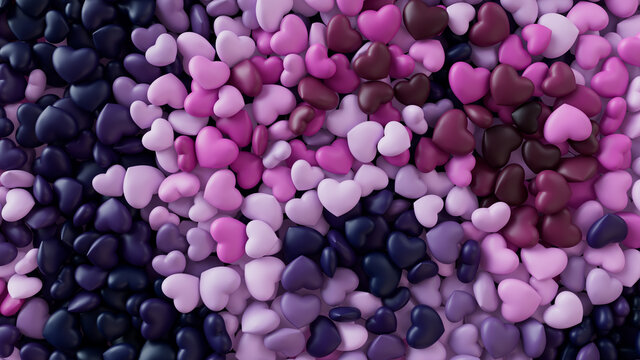 Multicolored Heart background. Valentine Wallpaper with Pink, Magenta and Navy Blue love hearts. 3D Render