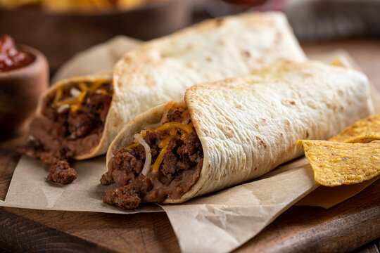 Beef Burrito With Refried Beans and Cheese