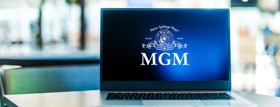 Laptop computer displaying logo of Metro-Goldwyn-Mayer