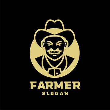 Columbia south america farmer character logo icon design cartoon isolated background