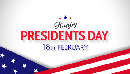 Happy Presidents Day 18th february US holiday banner design. - Vector Wall mural
