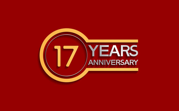 17 years anniversary golden and silver color with circle isolated on red background use for party and celebration special moment