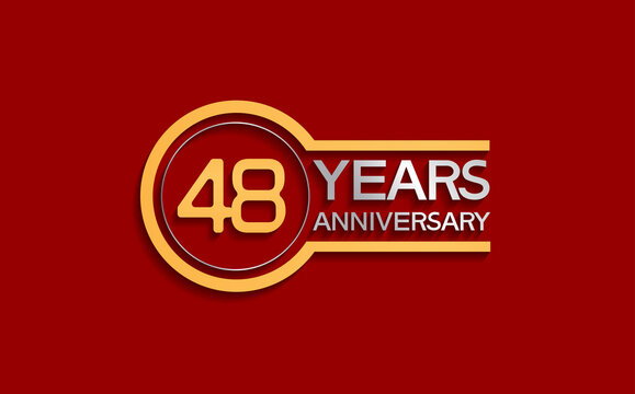 48 years anniversary golden and silver color with circle isolated on red background use for party and celebration special moment