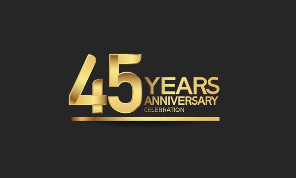 45 years anniversary celebration with elegant golden color isolated on black background can be use for special moment, party and invitation event