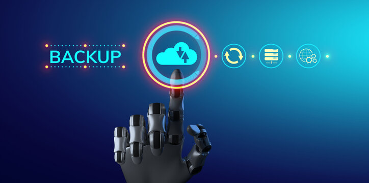 Backup Restore Disaster recovery Data protection technology concept. Robot hand pressing button. 3d rendering.
