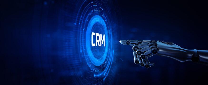 CRM System Software Customer relationship management concept. Robotic hand pressing button 3d render.