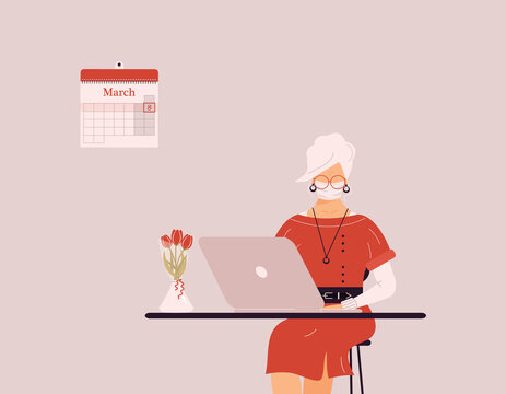 March 8 International Women`s Day.Cute blonde woman in protective medical mask work on laptop.Vase with tulips on desk.Smart lady trainer,coach or accountant on webinar or workshop.Raster