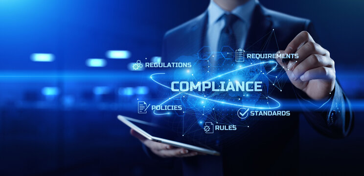 Compliance. Regulation. Standard. Rule. Business internet technology concept