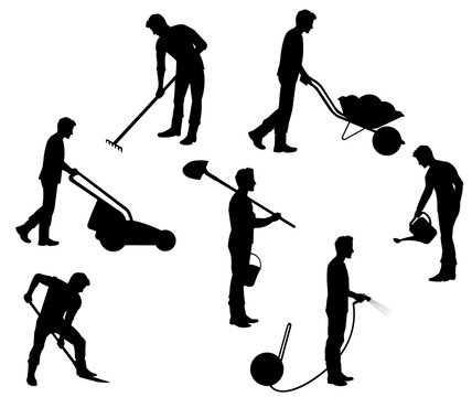 Silhouettes of a planting farmer or gardener with tools: shovel, wheelbarrow, rake, hose, lawn mower, bucket, can