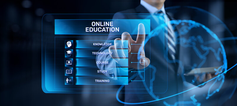 Online education internet learning e-learning concept on digital interface