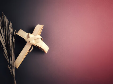 Lent Season,Holy Week and Good Friday Concepts - image palm cross in vintage background. Stock photo.