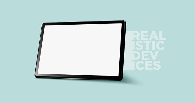 Realistic horizontal black tablet pc pad computer mockups vector EPS.