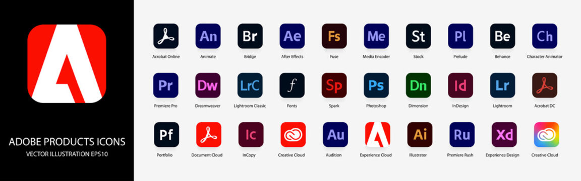 Adobe Products: Acrobat, Bridge, After Effects, Stock, Illustrator, Photoshop, InDesign, Premiere Pro, Behance, Lightroom, Creative Cloud etc. Vector illustration. Kyiv, Ukraine - February 6, 2021
