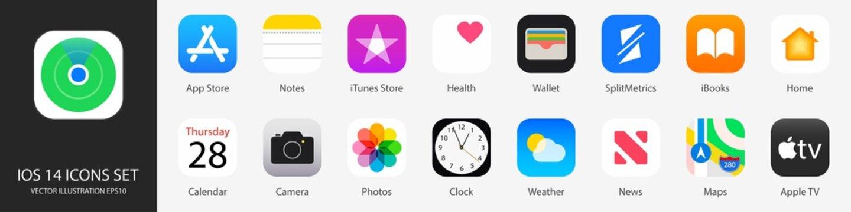 iOS 14 icons Apple inc: Apple Store, Apple TV, iTunes, Podcasts, iMovie, iBooks, Apple TV, FaceTime, SplitMetrics, News, Clock, Wallet, Notes, Phone, Maps etc. Kyiv, Ukraine - February 7, 2021