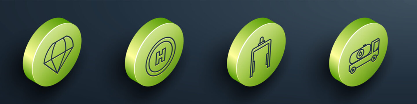 Set Isometric Parachute, Helicopter landing pad, Metal detector in airport and Fuel tanker truck icon. Vector.