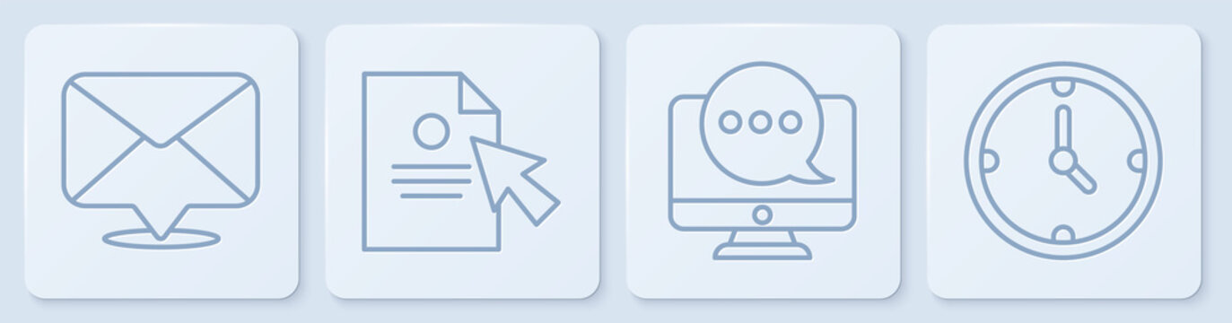 Set line Envelope, Chat messages notification on monitor, Document and cursor and Clock. White square button. Vector.