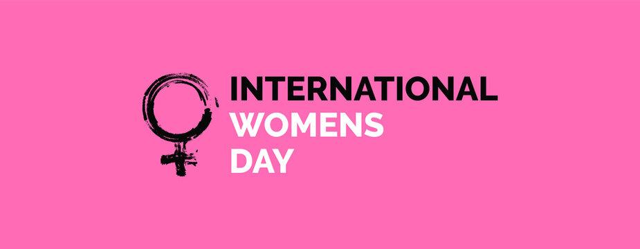International Women's Day Logo on Pink Banner Background