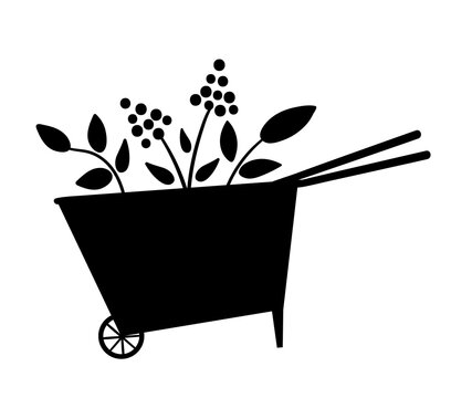 Vector cute wheel barrow silhouette icon isolated on white background. Flat spring garden tool illustration. Funny gardening equipment picture for kids..