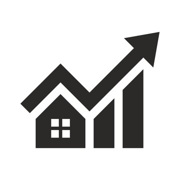 House investment growth icon. Real estate. Property value. Vector icon isolated on white background.