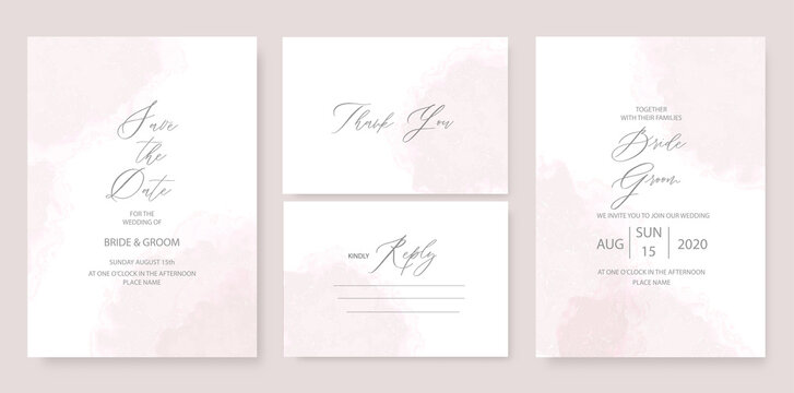 Modern wedding invitation template, with watercolor stains and handmade calligraphy.