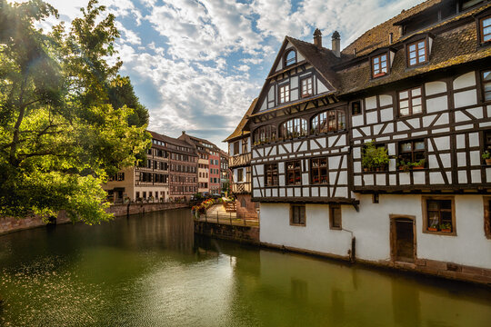 View of the city of Strasbourg in eastern France. Charming half-timbered houses.