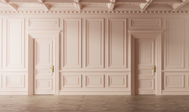 Classic luxury empty room with boiserie on the wall. Pink colored