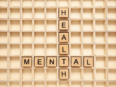 Mental Health Wooden Blocks Concept