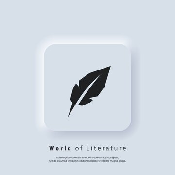 World Poetry Day. Writing pen icon. Inkwell and pen logo. World of literature. Vector. UI icon. Neumorphic UI UX white user interface web button. Neumorphism