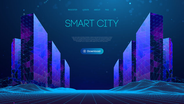 Wireframe landscape with Smart city. Technology background blue in low poly style. Data security 3d vector background. Global social network connection.
